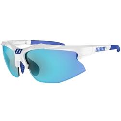 Bliz Hybrid, White/Smoke with blue multi