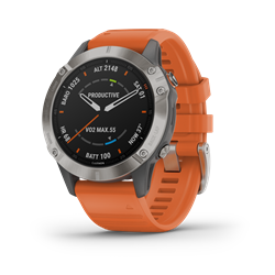 Garmin Fenix 6 Sapphire Ti Gray W/Orange Band Gps Watch - Multisportklocka